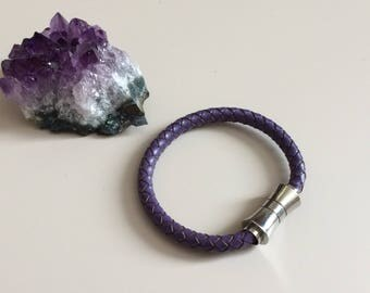Purple Braided Leather Bracelet with Stainless Steel Magnet Clasp - Purple Leather Bracelet with Magnet Clasp - Valentines Gift for Her