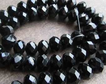 20 Large Faceted Crystal Glass Rondelle Beads Spacers Black Jet