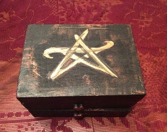 Hand painted Pentagram Wooden Jewelry Box