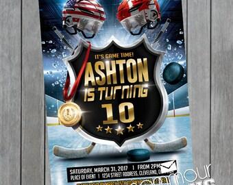 Hockey Birthday Invitation - Hockey Birthday - Ice Hockey Birthday - Printable Hockey Invitation