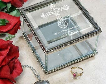 Engraved First Communion Jewelry Box, Glass Box, Holy Communion Gift