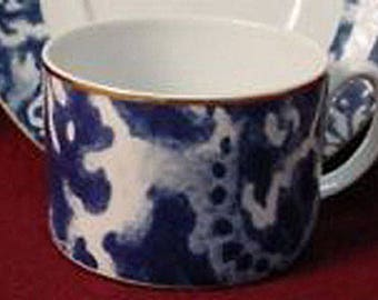 Ralph Lauren Round Hill Flat Cup ONLY Cobalt Blue and White Gold Rim