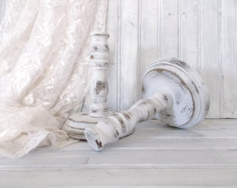 MBS Distressed White Shabby Chic Wooden Candlestick Holders, White Wooden Candlestick Holders, Wooden Candle Holders