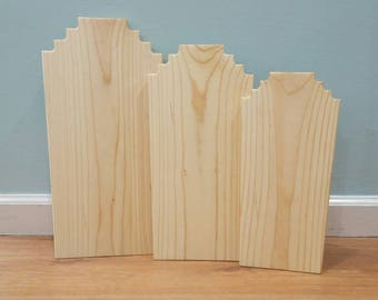 Solid Wood Necklace Display - Jewelry Stand - Natural Pine - Tiered Neckline