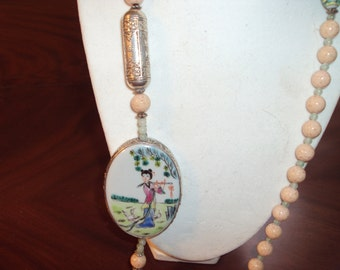 Oriental Porcelain and silver plate necklace