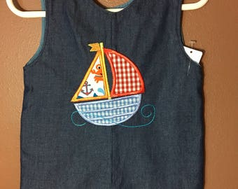 Boy Denim Sailboat , 12 month