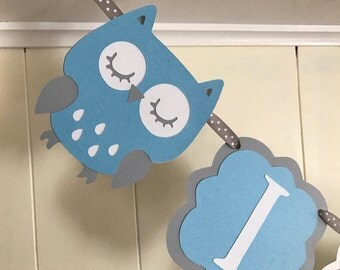 Owl baby shower banner It's a boy banner/ sleeping owl It's a boy banner/ Ready to Ship