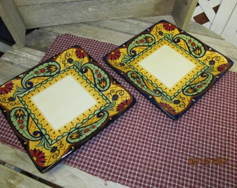 "Set of 2 Corsica Home Crown Jewel Square Dinner Plates Mint Condition 10 1/2"" Plates"