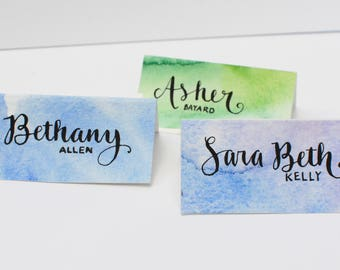 Calligraphy Watercolor Place Cards, Escort Cards