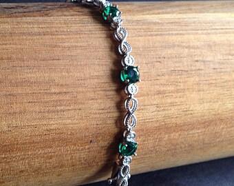 Gemstone & Sterling Silver Bracelet With Cubic Zirconia, Bridal Jewelry, Wedding Bracelet