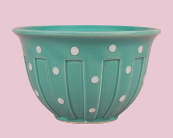Polka Dot Bowl Green & White Vintage Retro Stoneware Kitchen Decor