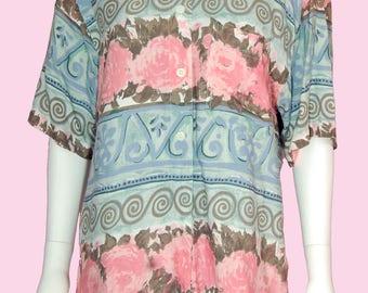 Hawaiian Shirt Vintage 1990s Pastel Color Tropical Print Top
