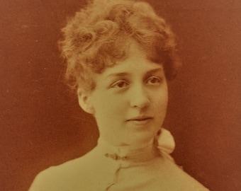 ON SALE Detroit Michigan MI 1800's Pretty Young Woman Antique Cabinet Card Photograph Photo Old Vintage