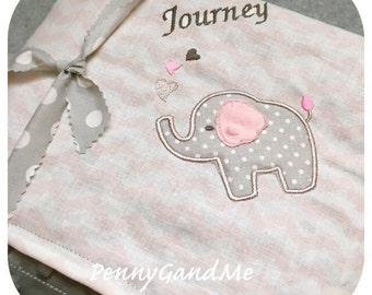 Personalized Elephant Baby Blanket, Elephant Minky Blanket, Pink and Grey Elephant, Elephant Baby Shower Gift, Baby Girl Elephant Blanket