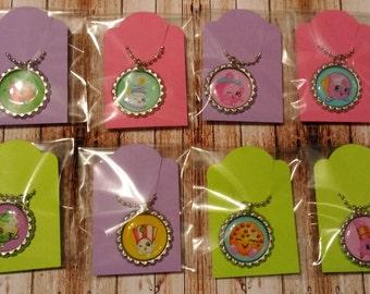 Set of 8 Cute Shop-Kins Flat Bottle Cap Necklaces - Souvenirs - Party Favors