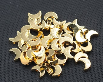 10 Pieces Gold Plated Moon Beads Jewelry Making Supplies Wholesale Charm CQA-036