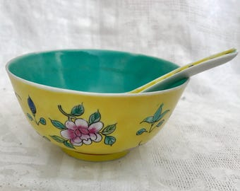 Vintage Chinese Hand Painted/Incised Yellow Floral Porcelain Soup Bowl and Spoon