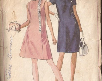 Simplicity 7986 Pattern Misses Dress, Size 10, Bust 32 1/2 and Size 16, Bust 38  Vintage 1968