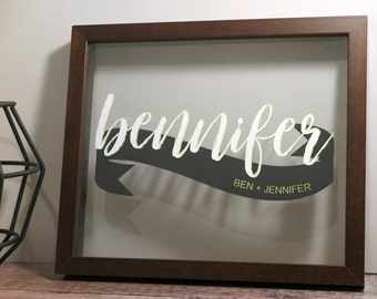 Personalised Super Couple Name Papercut (FREE UK POSTAGE)