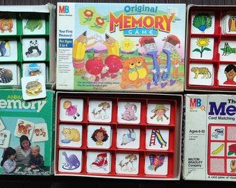 Memory Games, Animal Families, Original, My First Memory Game, Milton Bradley, English, Spanish Directions, 1980, '86, '90, No Reading, CUTE