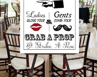 "Instant Download- Printable PDF JPEG DIY White Wedding Sign: ""Fancy Photobooth"" Large 22"" x 28"" Signage"