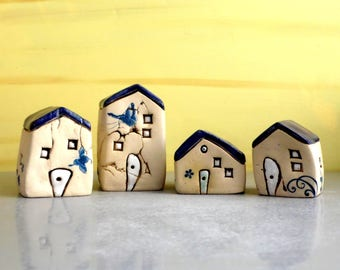 Ceramic sculpture, Miniature houses, Set of 4 houses, Ceramic houses of white clay, One of a kind handmade pottery, Blue and white, Rustic