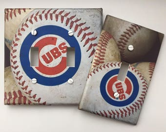 Chicago Cubs light switch plate cover baseball sports fan man cave // SAME Day SHIPPING!! **
