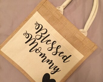 Blessed Mommy Tote Bag, Jute Tote Bag, Personalized Tote Bag, Mommy Bag