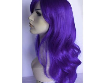 Long wavy purple wig with bangs - ready to ship