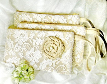Set of 7 Bridesmaid clutch, cotton linen lace clutch, wedding gift, Makep bag ivory white lace (Ref: CL905)
