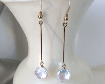Her Pearl Earrings-5th Anniversary-Goddaughter Jewelry-Niece Gift From Aunt-Long Pearl Earrings-Classy and Fabulous-Summer Party Jewelry-BFF