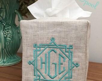 Monogrammed Tissue Box Cover Linen-Rattan Monogram, monogrammed gift-personalized gift-hostess gift