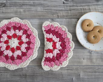 Hand Crocheted Potholders in Natural Cotton - Handmade Kitchen Accessories Sun and Moon in Pink Rainbow Color - Gift Idea for Mom's Day