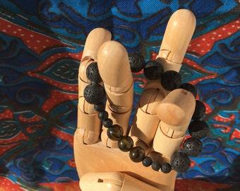 Lava Bead and Dragon Agate Bracelet