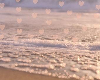 Heart print, love photography beach bedroom decor, pink hearts sparkles, romantic beach decor, nautical heart art, Valentine's Day Gift