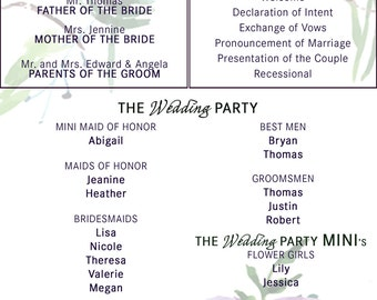 Custom Wedding Ceremony Program