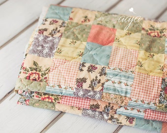 Upcycled Vintage style quilt layer, blanket, backdrop, Pastel, green, pink, floral, RTS