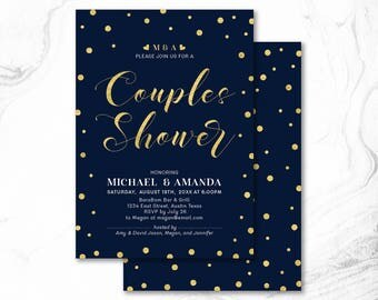 Couples Shower Invitation, Printable Couple Wedding Shower Invitation, Couples Shower Invite _ CPS17_07 Navy & Gold