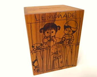 It's a Small World Musical Bank Wooden Wood Burned Lemonade Stand Love 1985 byToystalgia