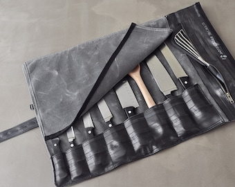 Chef Knife Roll made from waxed canvas and recycled bike inner tubes