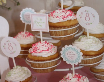 LDS Baptism Cupcake Toppers, Pink and Gray, Girls Baptism, It's Great to Be 8, CTR, Floral Cupcake Toppers, Floral Baptism Prints,