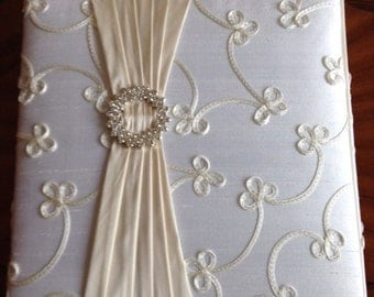 Beautiful Ivory Embroidered Dupioni Silk Photo Album - Perfect for Wedding or Special Occasion