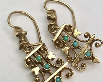 Victorian Turquoise and 10k Yellow Gold Dangle Earrings