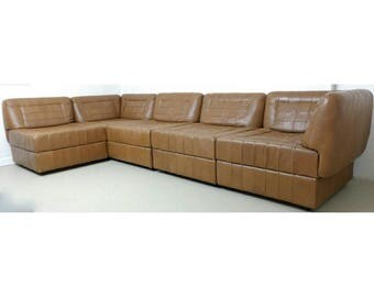 Percival Lafer Patchwork Leather Sofa Mid Century Couch Sectional Modular Low Profile Danish Modern Designer Sofa FREE SHIPPING or DELIVERY!