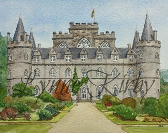 Inverary Castle Mounted Art Print Scotland Landscape heritage historic building
