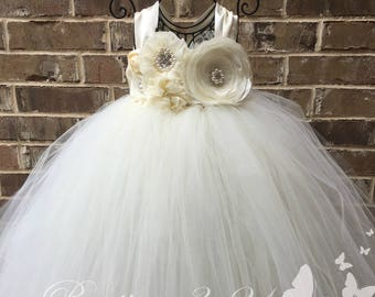 Ivory Flower Girl Dress, Ivory Tutu Dress, Ivory Tulle Dress, Ivory Dress, Ivory Wedding, Ivory