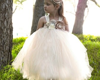 Champagne Flower Girl Dress, Champagne Tutu Dress, Champagne Tulle Dress, Champagne Dress, Champagne Wedding, Champagne