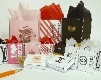 shopping bags dollhouse miniature 1/12 scale any logos you want