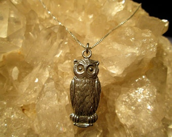 Owl Pendant ~Hand Cast~ Antiqued Sterling Silver  w/18 Inch Sterling Box Chain