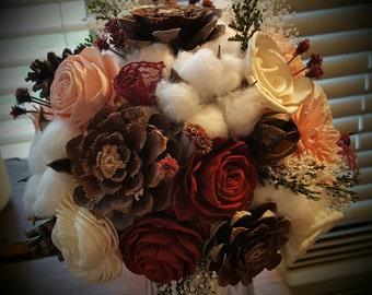 Bridesmaid's bouquet, Sola flower bouquet, cotton and sola flower bouquet. Pine cone and sola flower bouquet